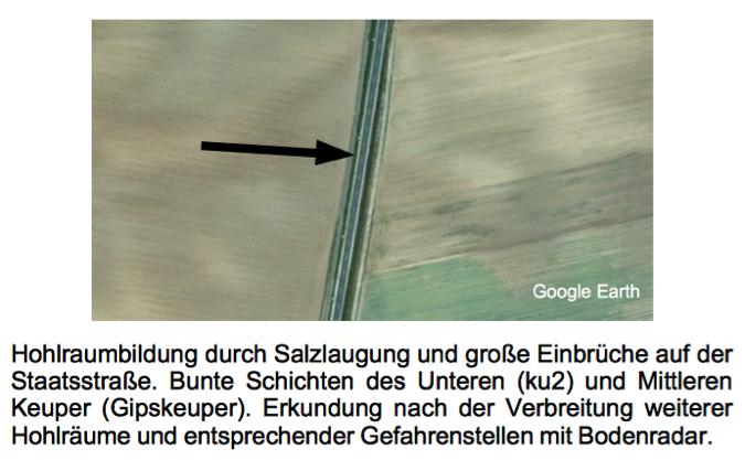 Straßeneinbruch Subrosion Salinar Luftbild